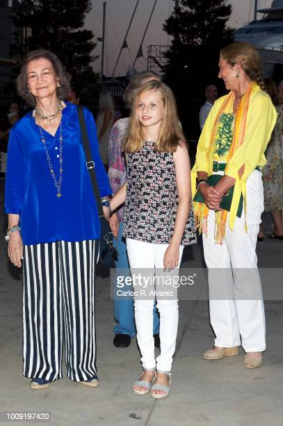Queen Sofia Princess Leonor of Spain and Princess Elena attend Ara Malikian concert at Port Adriano on August 1 2018 in Palma de Mallorca Spain
