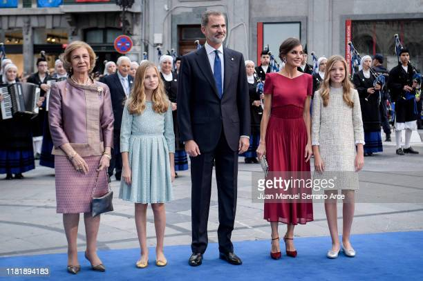 Queen Sofia Princess Leonor of Spain King Felipe VI of Spain Queen Letizia of Spain and Princess Sofia of Spain arrive to the Campoamor Theatre ahead...