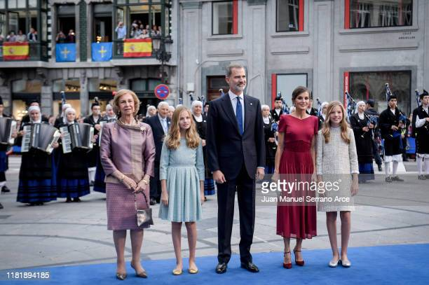Queen Sofia Princess Leonor of Spain King Felipe VI of Spain Queen Letizia of Spain and Princess Sofia of Spain arrive to the Campoamor Theatre ahead...
