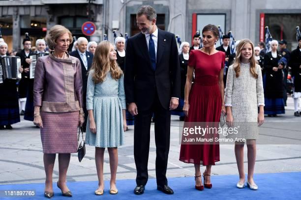 Queen Sofia, Princess Leonor of Spain , King Felipe VI of Spain, Queen Letizia of Spain and Princess Sofia of Spain arrive to the Campoamor Theatre...