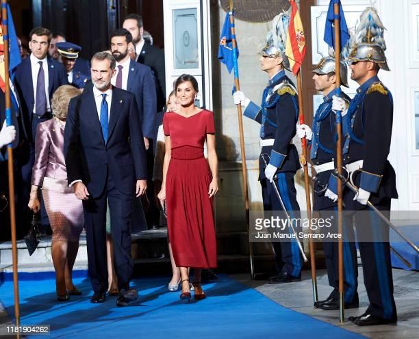 Queen Sofia, Princess Leonor of Spain , King Felipe VI of Spain, Queen Letizia of Spain and Princess Sofia of Spain attend the 2019 Princess of...