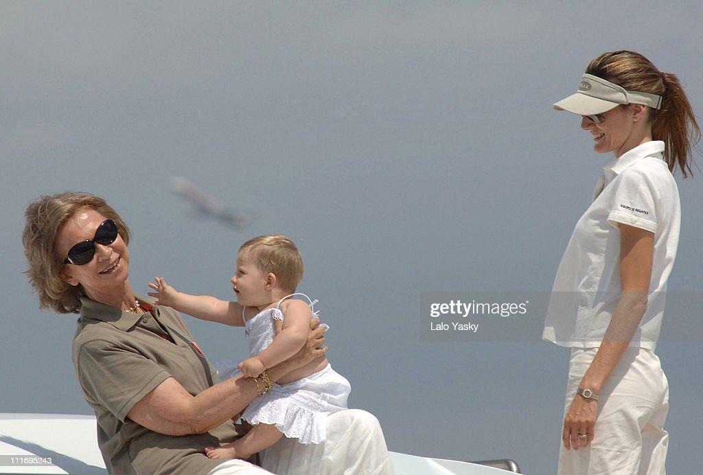 Queen Sofia, Princess Letizia and daughter Leonor during Spanish Royals Sighting in Palma de Mallorca at Yacht Fortuna in Palma de Mallorca, Spain.