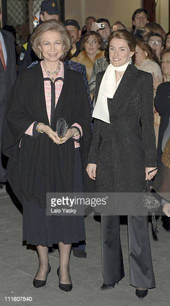 Queen Sofia Princess Letizia Elena of Spain and Irene of Greece at a Ballet Function in the Albeniz Theatre in Madrid