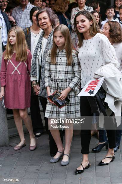 Queen Sofia Princess Sofia of Spain Queen Letizia of Spain and Princess Leonor of Spain are seen after going to see the 'Billy Elliot' theatre play...