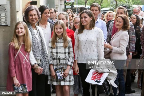 Queen Sofia Princess Sofia of Spain Queen Letizia of Spain Princess Leonor of Spain Victoria Federica de Marichalar and Paloma Rocasolano are seen...