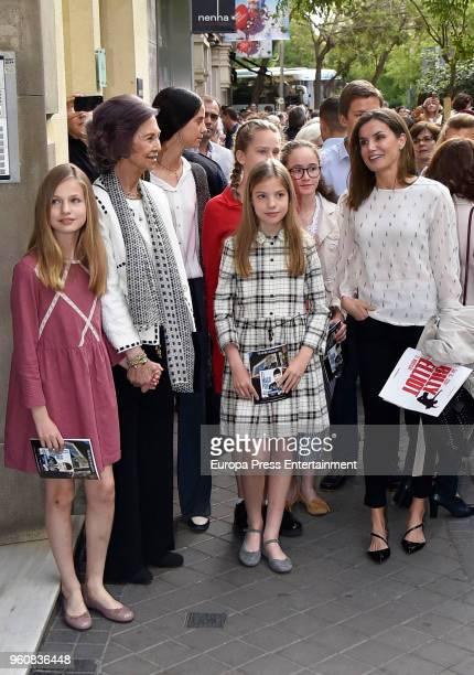 MADRID SPAIN MAY 19 2018 Queen Sofia Queen Letizia of Spain Princess Leonor of Spain Princess Sofia of Spain Irene Urdangarin and Victoria Federica...