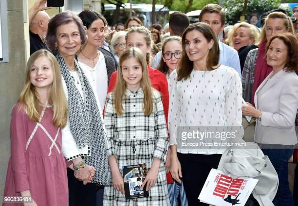 MADRID SPAIN MAY 19 2018 Queen Sofia Queen Letizia of Spain Princess Leonor of Spain Princess Sofia of Spain Irene Urdangarin Victoria Federica de...