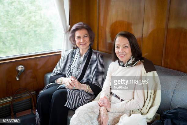 Queen Sofia Spanish and Queen Margarita Bulgarian in the royal train on the way to Cherepish Monastery for the Birthday of King Simeon II of Bulgaria...