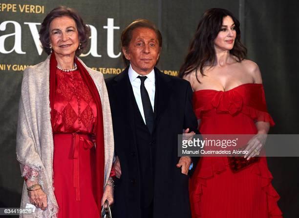 Queen Sofia Valentino Garavani and Monica Bellucci attend the 'La Traviata' Premiere at Palau de Les Arts Reina Sofia on February 9 2017 in Valencia...