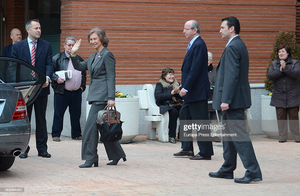 Queen Sofia visits King Juan Carlos at La Milagrosa Hospital on March 3, 2013 in Madrid, Spain.