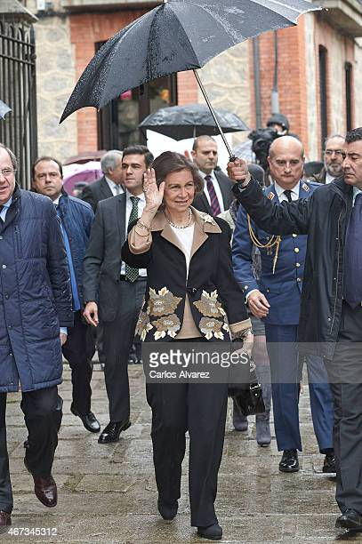 Queen Sofia visits the Mosen Rubi Chapel on March 23 2015 in Avila Spain