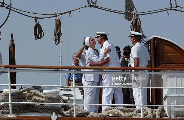 Queen Sofia visits the Spanish military training ship Juan Sebastian Elcano Jully 29 2001 at Palma de Mallorca Island Spain