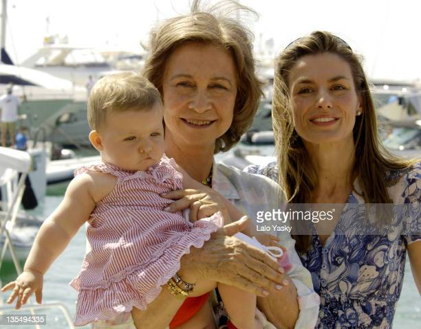 Queen Sofia with Baby Leonor and Princess Letizia during Spanish Royals Sighting in Puerto Portals July 23 2006 in Mallorca Balearic Islands Spain