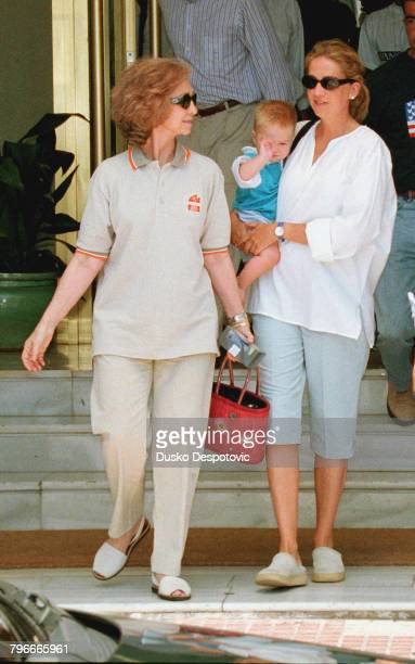 Queen Sofia with her daughter the Infanta Crist ina and her grandson JuanValentin Urdangarin