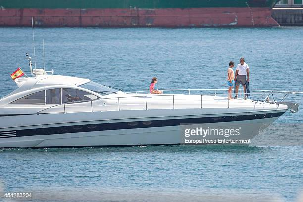 Queen Sofia's grandchildren Felipe Juan Froilan and Victoria Federica are sighted on August 6 2014 in Palma de Mallorca Spain