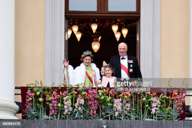 Queen Sonja and King Harald greet wellwishers from the balcony of the Royal Palace in Oslo Norway on May 9 2017 to mark the 80th Birthday of the King...