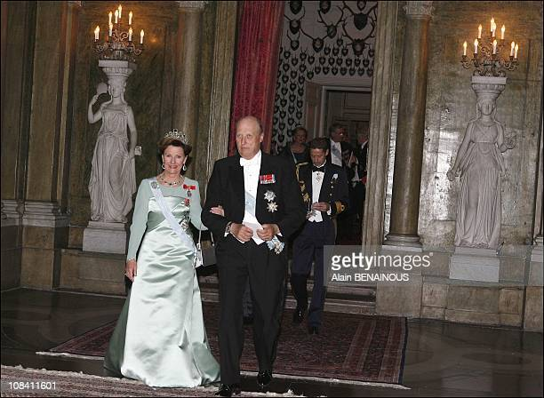 Queen Sonja and King Harald of Norway in Stockholm Sweden on April 30 2006