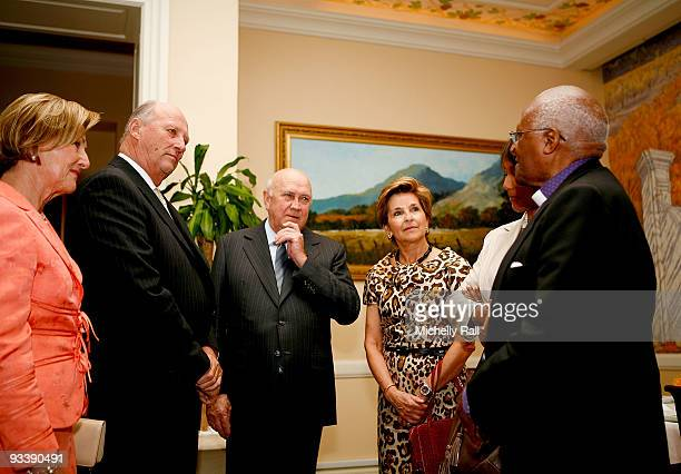 Queen Sonja and King Harald V of Norway meet with FW De Klerk and wife Elita De Klerk Albertina Luthuli and Desmond Tutu at Table Bay Hotel during...