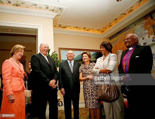 Queen Sonja and King Harald V of Norway meet with FW De Klerk and wife Elita De Klerk Albertina Luthuli and Desmond Tutu at Table Bay Hotel during...