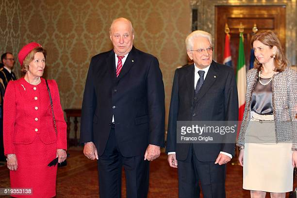 Queen Sonja and King Harald V of Norway pose with Italian President and his daughter Laura Mattarella at the Quirinale Palace during a state visit on...