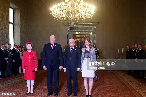 Queen Sonja and King Harald V of Norway pose with Italian President Sergio Mattarella and his daughter Laura Mattarella at the Quirinale Palace...