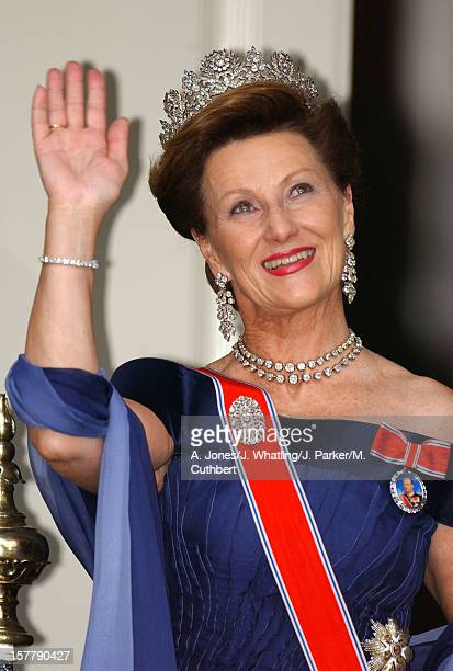 Queen Sonja At The Wedding Of Princess Martha Louise Of Norway And Ari Behn In Trondheim
