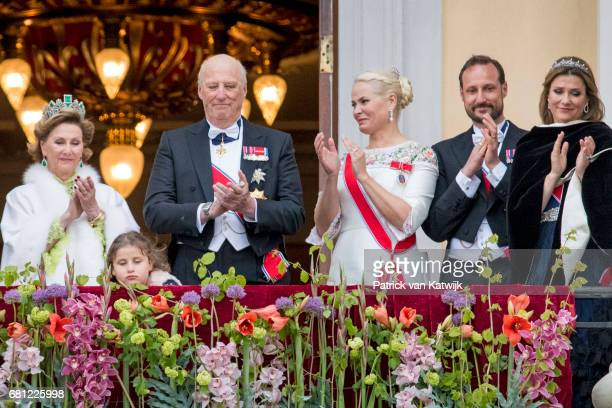 Queen Sonja King Harald Emma Tallulah Behn Crown Princess MetteMarit Crown Prince Haakon and Princess Martha Louise attend the official Gala dinner...