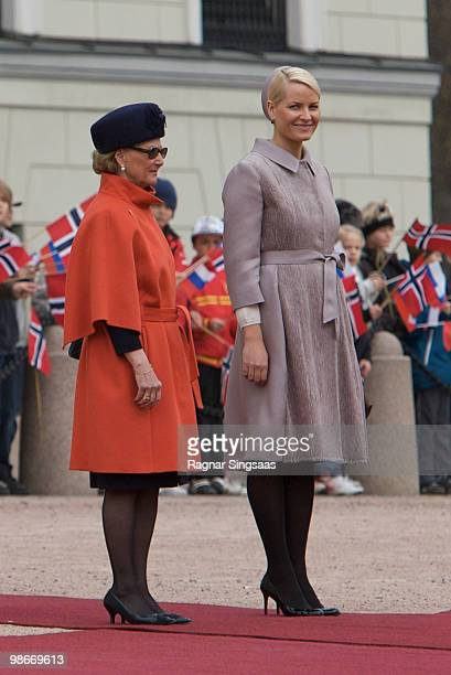 Queen Sonja of Norway and Crown Princess MetteMarit of Norway arrive at Palace Square on April 26 2010 in Oslo Norway Medvedev is in Norway for a...