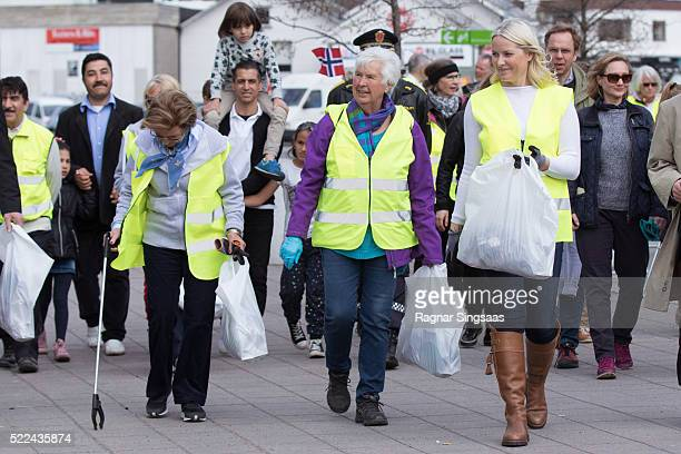 Queen Sonja of Norway and Crown Princess Mette-Marit of Norway meet Sandefjord Waste Clearing Team on April 19, 2016 in Sandefjord, Norway.