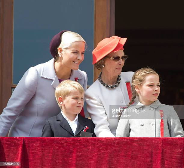 Queen Sonja of Norway and Crown Princess MetteMarit of Norway Prince Sverre Magnusand Princess Ingrid Alexandra watch the annual Norwegian National...