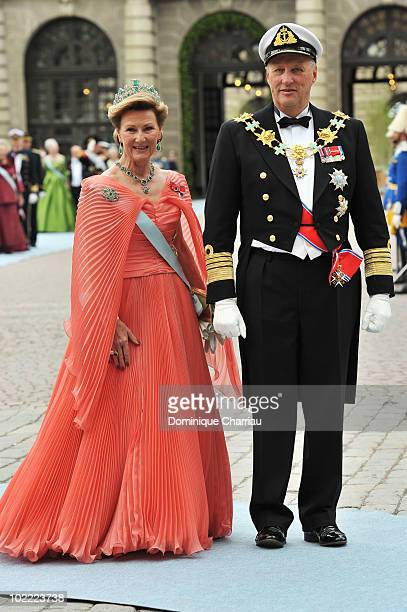 Queen Sonja of Norway and king Harald of Norway attend the Wedding of Crown Princess Victoria of Sweden and Daniel Westling on June 19, 2010 in...
