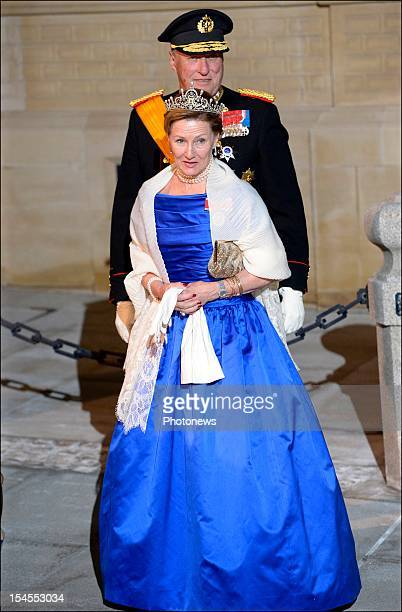 Queen Sonja of Norway and King Harald V of Norway arrive at the Gala Dinner for the wedding of Prince Guillaume Of Luxembourg and Stephanie de Lannoy...