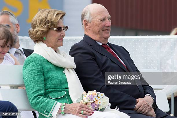 Queen Sonja of Norway and King Harald V of Norway attend festivities at the Ravnakloa fish market on June 23 2016 in Trondheim Norway