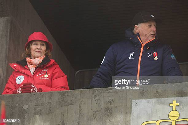 Queen Sonja of Norway and King Harald V of Norway attend Holmenkollen FIS World Cup Nordic on February 7 2016 in Oslo Norway