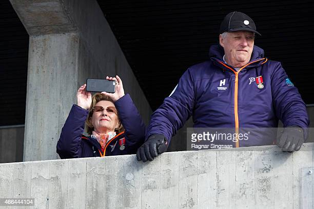 Queen Sonja of Norway and King Harald V of Norway attend the FIS Nordic World Cup on March 15 2015 in Oslo Norway