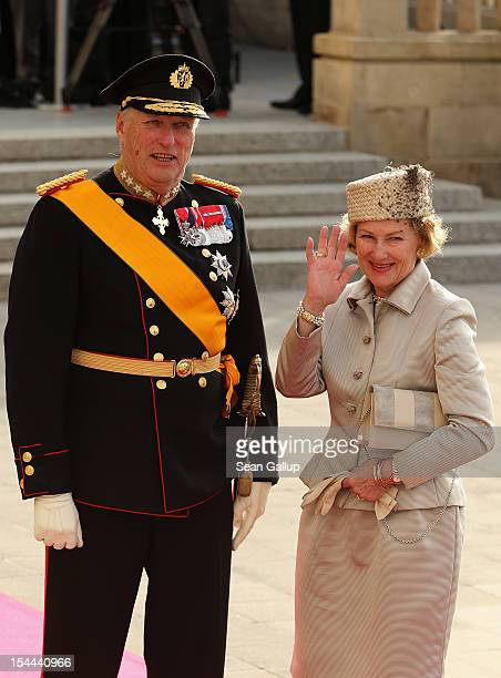 Queen Sonja of Norway and King Harald V of Norway attend the wedding ceremony of Prince Guillaume Of Luxembourg and Princess Stephanie of Luxembourg...