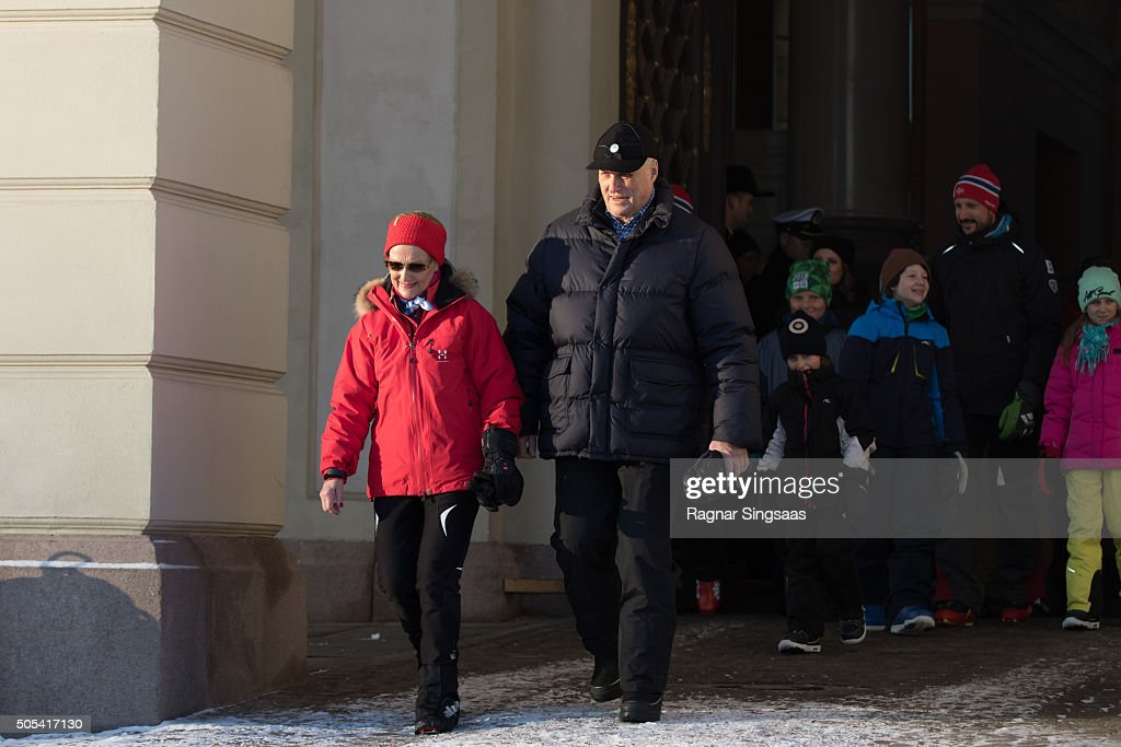 Queen Sonja of Norway and King Harald V of Norway attend Winter Games activities outside the Royal Palace while celebrating their 25th anniversary as monarchs on January 17, 2016 in Oslo, Norway.