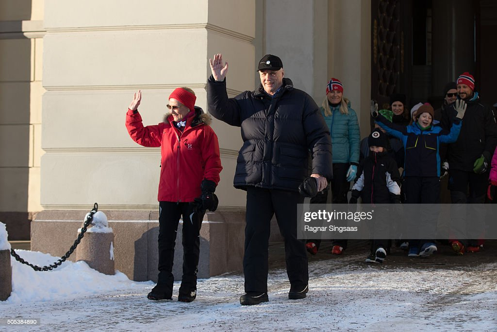 Queen Sonja of Norway and King Harald V of Norway walk outside the Royal Palace while celebrating the 25th anniversary of King Harald V and Queen Sonja of Norway as monarchs on January 17, 2016 in Oslo, Norway.