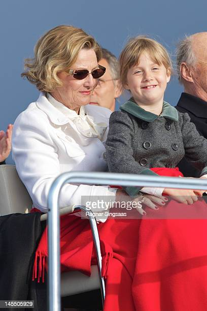 Queen Sonja of Norway and Leah Isadora Behn celebrate King Harald and Queen Sonja of Norway's 75th birthdays at Oslo Opera House on May 31 2012 in...