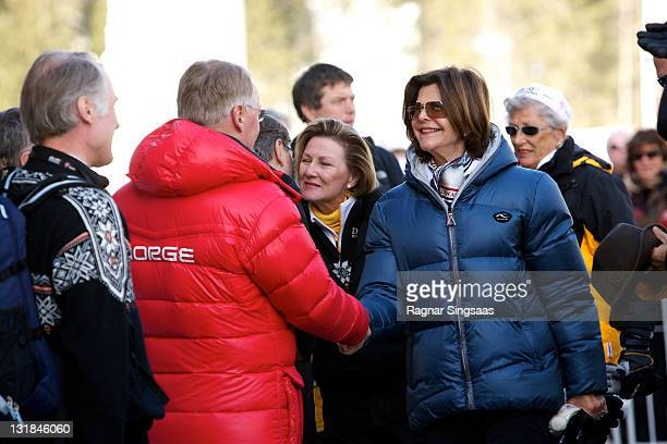 Queen Sonja of Norway and Queen Silvia of Sweden attend the Men's 50km Free Mass Start in the FIS Nordic World Ski Championships 2011 at Holmenkollen...