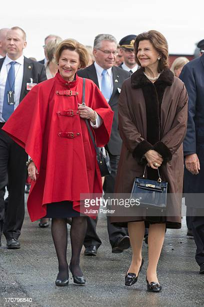 Queen Sonja of Norway and Queen Silvia of Sweden visit Stangnes School near Harstad during their official visit on June 18 2013 in Harstad Norway