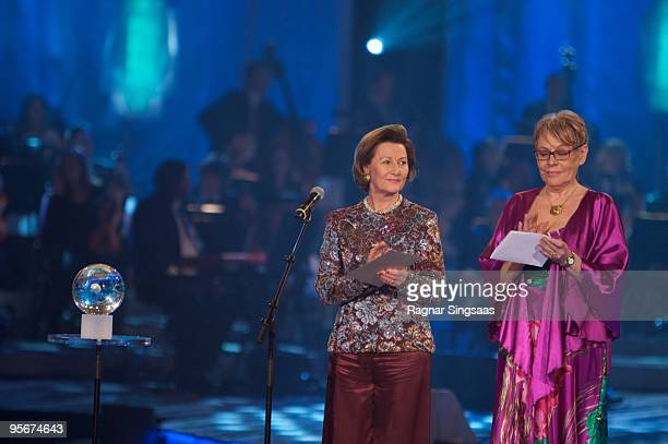 Queen Sonja of Norway and Tove Paule President of the Norwegian Confederation of Sports attend The Sports Gala in Haakons Hall in Lillehammer on...