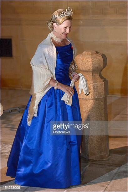 Queen Sonja of Norway arrives at the Gala Dinner for the wedding of Prince Guillaume Of Luxembourg and Stephanie de Lannoy at the Hotel De Ville on...