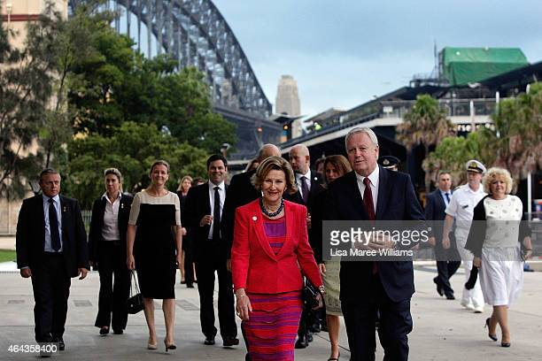 Queen Sonja of Norway arrives at the Museum of Contemporary Art Foundation Hall where her art work is on show on February 25 2015 in Sydney Australia...