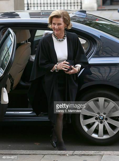 Queen Sonja of Norway arrives at the RIBA building during an official visit to London at RIBA on October 8 2015 in London England