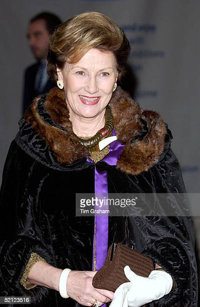 Queen Sonja of Norway at the V A for a reception to launch the exhibition 'Style and Splendour Queen Maud of Norway's Wardrobe 18961938' part of the...