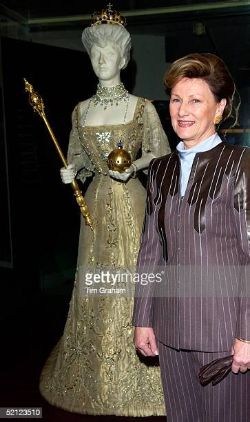 Queen Sonja of Norway attending the 'Style and Splendour Queen Maud of Norway's Wardrobe 18961938' exhibition at the Victoria and Albert Museum...