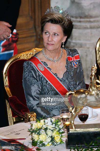 Queen Sonja of Norway attends a dinner at the Guildhall on October 26 2005 in London England