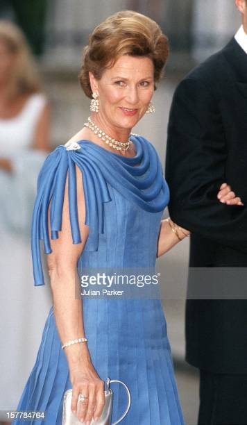 Queen Sonja Of Norway Attends A Gala At Bridgewater House Prior To The Wedding Of Princess Alexia Of Greece And Carlos Morales Quintana.