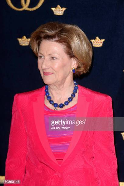 Queen Sonja of Norway attends a lunch in Tromso as King Harald of Norway and Queen Sonja of Norway host King Carl Gustaf and Queen Silvia of Sweden...
